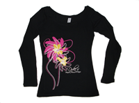 View:  Duke's Maui-Women's Long Sleeve Abstract Floral, Black