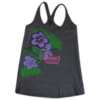 View: Duke's Waikiki-Women's Hibiscus  Tank-Grey