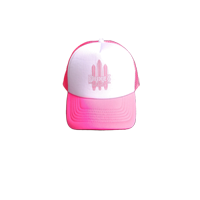 "View: Duke's Kauai-Trucker's Cap w/ Screened ""Three Boards"" Design, Pink."