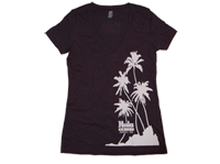 "View: Hula Grill Kaanapali-Women's ""Palm"" V-Neck T-Shirt, Plum"