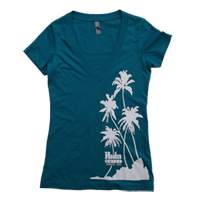 "View: NEW! Hula Grill Kaanapali-Women's ""Palm"" V-Neck T-Shirt, Teal"