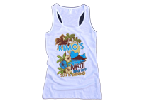 "View: Kimo's-Women's ""70's"" Racer Back Tank Top, White"