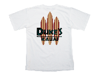 View: Duke's Kauai Two-Tone Surf Boards T-Shirt  White