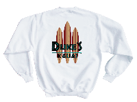 View: Duke's Kauai Original Surf Board Sweatshirt White