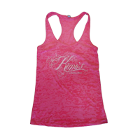 View: Kimo's Women's Racer Back Tank, Pink, Burnt Out Fabric