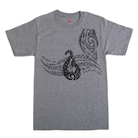 "View: Keoki's Paradise-""Fish Hook"" T-Shirt, Light Steel Gray"