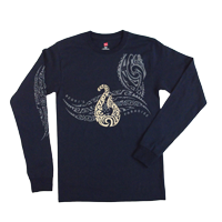 "View: Keoki's Paradise-""Fish Hook"" Long Sleeve T-Shirt, Navy"