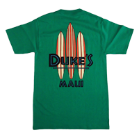 "View: Duke's Maui-""Nalu Boards"" T-Shirt, Kelly Green"