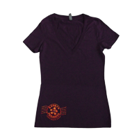 View: Keoki's Paradise-Women's Flower Stamp, V-Neck, Plum